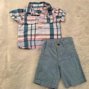 Baby boy collar shirt and long shorts.
